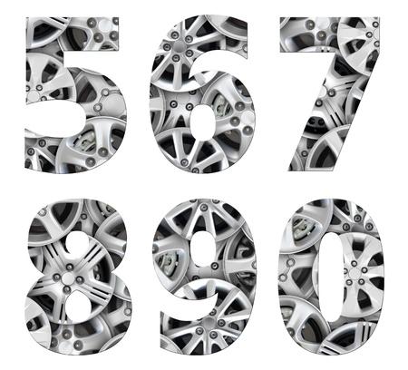 bevel: alphabet number steel car alloy Stock Photo