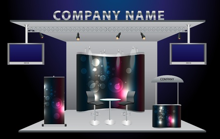 Vector Blank trade exhibition stand with widescreen lcd monitor, counter, chair, roll-up banner and lights with identity background ready for use   Vector