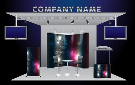 Vektor Blank-Messestand bereits mit Widescreen LCD-Monitor, Zähler, Stuhl, Roll-Up Banner und Lichter mit Identität Hintergrund einsatzbereit