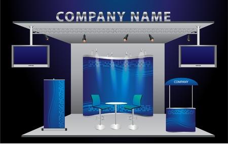 отображения: Векторный пустой выставочный стенд торговли с широкоэкранным ЖК-монитором, счетчик, стул, ролл-баннер и огней с единицей фоне готова к использованию