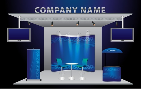 display stand: Vector Blank trade exhibition stand with widescreen lcd monitor, counter, chair, roll-up banner and lights with identity background ready for use