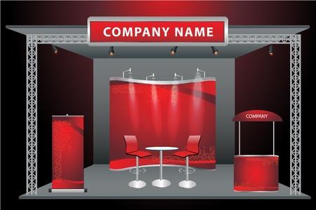 Vector Blank stand espositivo commerciale con widescreen lcd monitor, banco, sedia, roll-up banner e luci con sfondo identità pronto per l'uso Vettoriali