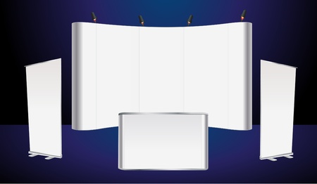 commercial event: Vector blank trade show booth and roll up banner, counter promotion display  Illustration