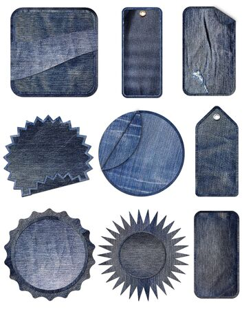 Collection of Premium Quality and Guarantee Labels with blue jean vintage styled design isolate on white background  photo