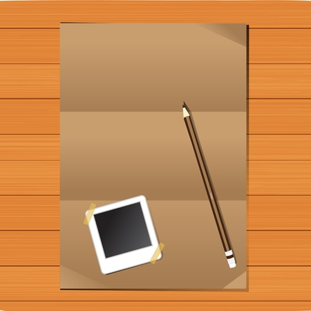 Empty brown Crumpled paper With Pencils and picture frames on wood table  Stock Vector - 13214169