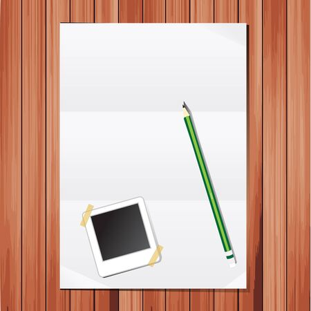Empty white Crumpled paper With Pencils and picture frames on wood table Stock Vector - 13214167