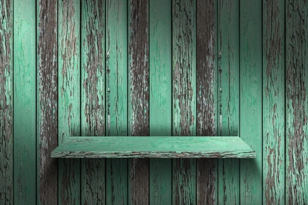 Empty wood shelf  grunge industrial interior Uneven diffuse lighting version  Design component  photo