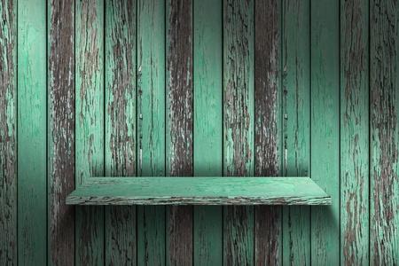wood shelf: Estante vac�o de madera grunge industrial interior desigual iluminaci�n difusa versi�n de dise�o de componentes