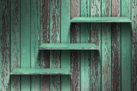 Empty wood shelf  grunge industrial interior Uneven diffuse lighting version  Design component Stock Photo - 13229915