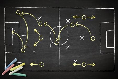 futbol soccer dibujos: estrategia de partido de f�tbol dibujado con tiza en una pizarra.