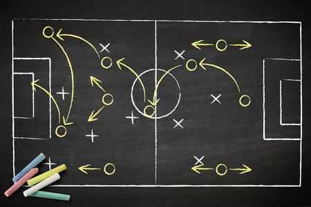 tactic: soccer game strategy drawn with chalk on a blackboard.  Stock Photo
