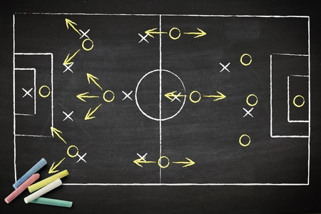 soccer game strategy drawn with chalk on a blackboard.  photo