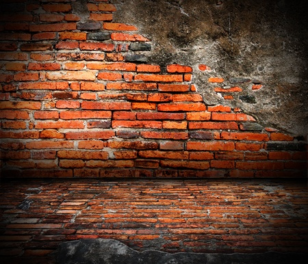 Old room with brick wall. grunge industrial interior Uneven diffuse lighting version. Design component  photo