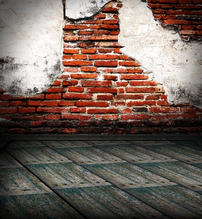 Old room with brick wall. grunge industrial interior Uneven diffuse lighting version. Design component Stock Photo - 13261605