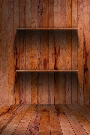 Empty wood shelf. grunge industrial interior Uneven diffuse lighting version. Design component  photo