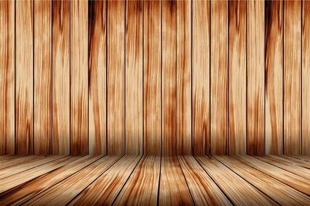Vector wood room with wooden planks floor and walls background Stock Vector - 13328189