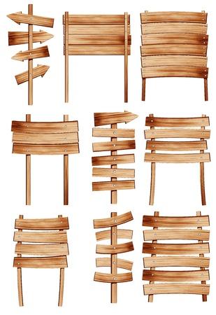 colecci�n de se�ales vectoriales de madera en el fondo blanco