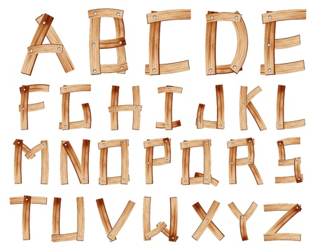 nailed: Old Grunge Wooden Alphabet, vector set with all Letters