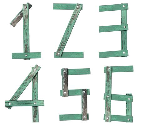 Old Grunge Wooden Alphabet number set photo
