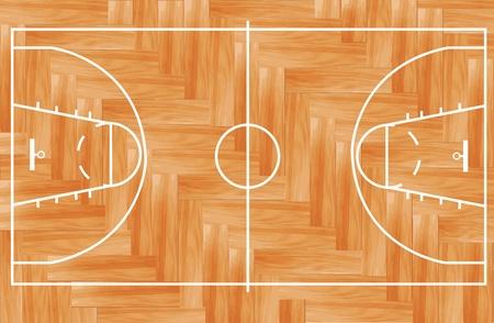 Drewniana podłoga parkiet boisko do koszykówki ilustracji wektorowych