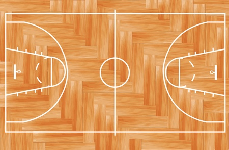 the court: Wooden parquet floor basketball court  Vector illustration