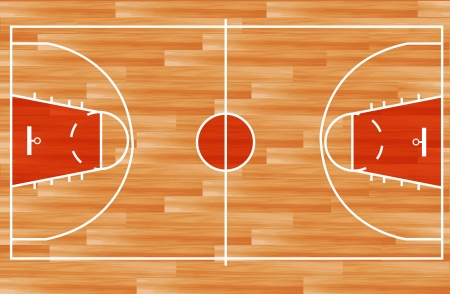 floor plan: Wooden parquet floor basketball court  Vector illustration