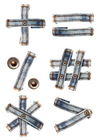 fibres: letter of jeans alphabet Symbol on white background  Save paths  for design work
