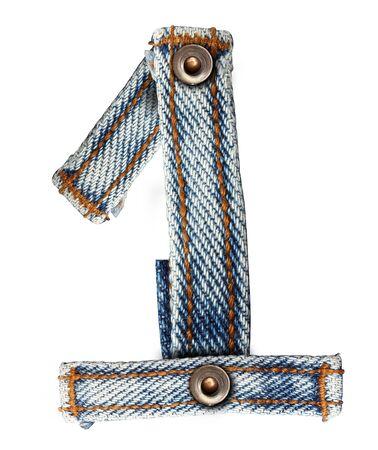 lettre de l'alphabet des jeans sur fond blanc Nombre Enregistrer les chemins pour les travaux de conception photo