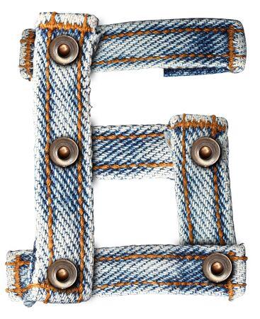 fibres: letter of jeans alphabet Number on white background  Save paths  for design work