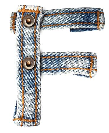letter of jeans alphabet on white background  Save paths  for design work Stock Photo - 13592424