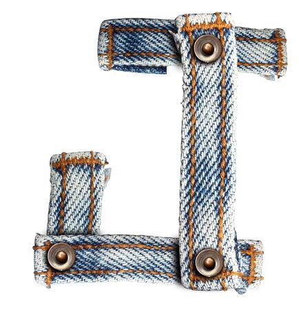 brief van jeans alfabet op witte achtergrond Opslaan paden voor ontwerpen