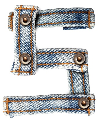 letter of jeans alphabet on white background  Save paths  for design work  photo