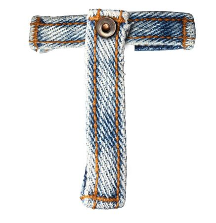 fibres: letter of jeans alphabet on white background  Save paths  for design work