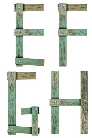 Old Grunge Wooden Alphabet, vector illustration set   Vector
