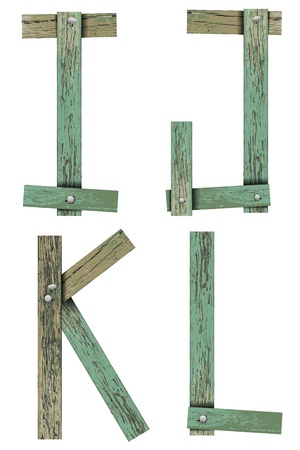 Old Grunge Wooden Alphabet, vector illustration set   Stock Vector - 13592455