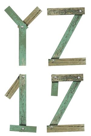 Old Grunge Wooden Alphabet, vector illustration set Stock Vector - 13592457