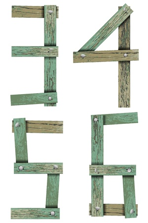 nailed: Old Grunge Wooden Alphabet, vector illustration set   Illustration
