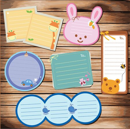 reminder icon: collection of message paper on wood background. vector illustration  Illustration