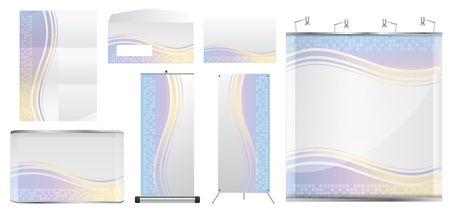 blank trade show booth, With paper, Envelope, name card, counter and roll up banner stand. identity background ready for use. Vector