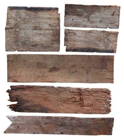wooden signboard: Old plank of wood isolated on white background (Save Paths For design work)