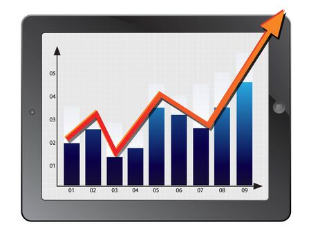 turnover: illustration of classy tablet PC with graph growth business concept