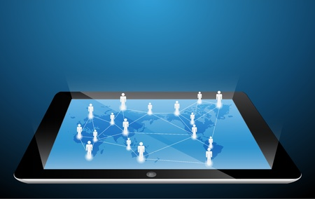 social network structure on touch-screen tablet-pc  Vector