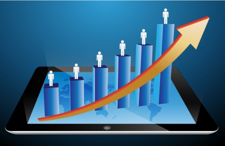 graph growth business concept on tablet PC Stock Vector - 14055611