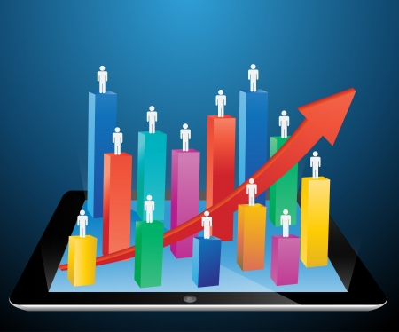 graph growth business concept on tablet PC  Vector illustration  Vector