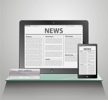 e book: News on generic Tablet PC on shelves   Illustration