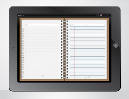 notebook paper application on tablet PC Stock Vector - 14055396