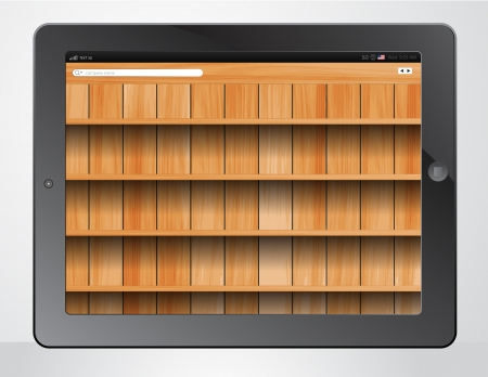 modern palmtop: tablet computer and wood shelves background