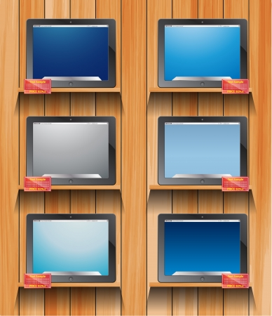 e book: computer tablet on wooden shelves   Illustration