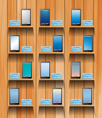 digital book: mobile on wooden shelves