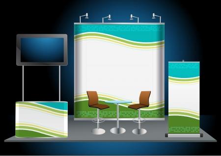 affichage publicitaire: Vecteur position Blank exposition commerciale avec Moniteur LCD, compteur, chaise, roll-up banni�re et lumi�res avec un fond d'identit� pr�te � l'emploi
